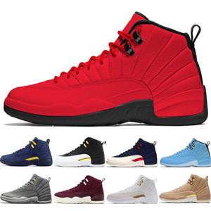 2019 scarpe da basket da uomo 12 12s Michigan Bulls College Navy UNC NYC Vachetta Tan Grigio scuro Bordeaux Flu Game Playoff Scarpe sportive da uomo