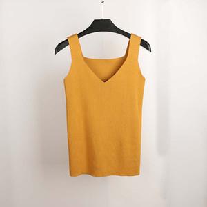 Neue Sexy Crop Top Gestrickte Sommer Tank Top Frauen Bluse Ärmelloses V-Ausschnitt Top Weibliche T-Shirt Weste Casual Camis Streetwear