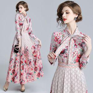 2018 Autunno Primavera Moda sfilata Floral Print Ribbon Tie Colletto Manica lunga Impero Vita Abiti Nuovo arrivo all'ingrosso Donna Ladies Casual
