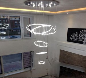 HOT 5 cercle anneau Moderne minimaliste penthouse étage salon led Plafonniers villa créative longues lumières circulaires d'escalier