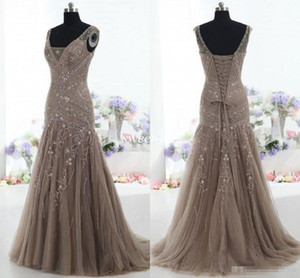 Actual Images 2015 Vintage Mother of the Bride Dresses Mermaid V Neck Applique Beads Tulle Corset Custom Made Mother Formal Evening Gowns