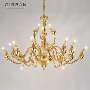 2018 Deco Europeia Swan Lustres de cristal Vela LED lustre de teto Quarto Lighting G4 Sala moderna decoração