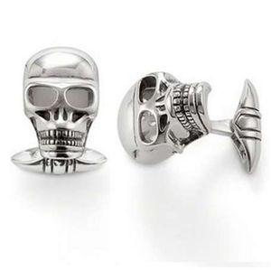 Silver Plated Skulls Gemelos Fit camisa, la mayoría de los accesorios de moda de joyería Bijoux Gemelos Casual regalo para mujeres hombres