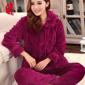 Sueño otoño pijamas mujeres de invierno de terciopelo de coral de manga larga conjuntos de pijamas femeninos gruesa caliente sexy pijamas XXL pijama Femme Homewear Y18102205