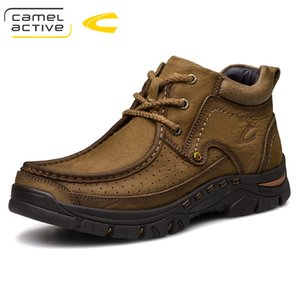 Camel Active NEW Winter Men  boots Genuine leather Motorcycle boots Luxury Vintage Male shoes Lace-Up Outdoor Ankle boots