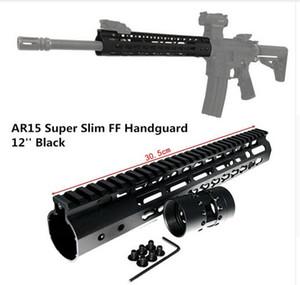 FIRECLUB 12 인치 프리 플로트 NSR KeyMod Handguard 탈착식 레일 장착 브라켓 AR-15 M4 M16 용 BLACK 배럴 너트
