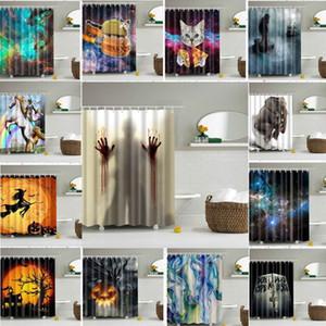 La decorazione impermeabile della tenda della doccia del bagno dell'elefante della sirena della zucca di Halloween 165 * 180cm tende all'ingrosso con i ganci DHL libero