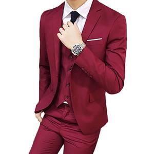 YJSFG HOUS Men Business Suit Slim Fit Classic Male Suits High Quality 3 Pieces (Jacket coat +Pant+Vest) Wedding Suits For Men