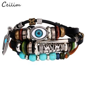 Vintage Multicouche En Cuir Corde Bracelet Hommes De Mode Tressé À La Main Lucky Eye Corde Wrap Bracelets Bracelets Mâle Cadeau En Gros