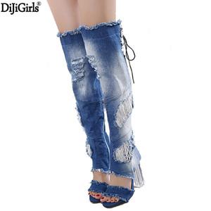 Frauen Schuhe Denim Jeans 2017 High Heel Sommer Stiefeletten Sexy Kniehohe Gladiator Sandalen Mode Transparent Heel Denim Schuhe