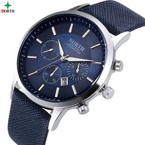 30M NORTE hombres reloj impermeable del deporte del reloj de la manera Montre Homme cuero auténtico Hombre Relojes de cuarzo comercial masculino reloj Dropshipping