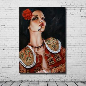 التدخين فتاة مثير الملابس الساخنة الجسم الزخرفية صور اليدوية النفط الطلاء قماش اللوحات لديكور المنزل