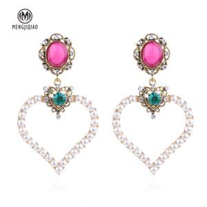 MENGJIQIAO 2018 Neue Vintage Bunte Hohle Große Liebe Herz Baumeln Ohrringe Für Frauen Erklärung Simulierte Perle Tropfen Orecchini S914