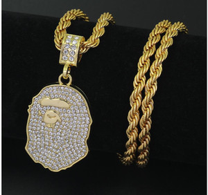 2018 yeni stil kalça kolye 5mm 3mm moda maymun kafa kolye kişilik tam elmas kolye hediye aksesuarları fabrika