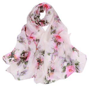 otoño femme bufanda de seda chales y abrigos bufandas para mujeres Peach Blossom Printing Long Soft Wrap Señoras velo