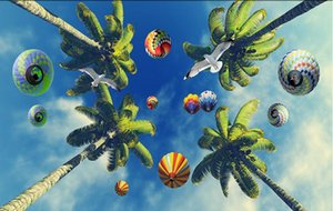 Wholesale- Custom photo wallpaper 3d ceiling murals wallpaper Beautiful blue sky white clouds coconut trees seabirds sunny zenith murals
