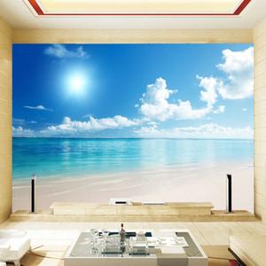 Personalizado 3d papel de parede murais naturais do sudeste da ásia paisagem à beira-mar praia ensolarada água mural papel de parede papel de parede 3d quarto