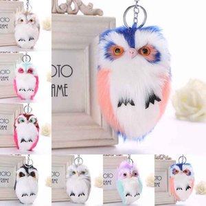 Bella Fluffy Pompon Animal Owl Portachiavi Coniglio Artificiale Palla di Pelliccia Charms Portachiavi Auto Donna Portachiavi Gioielli Ciondolo