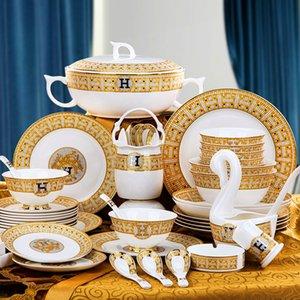 60pcs / set mosaïque de vaisselle en céramique européenne os Chine vaisselle ensemble plats à la maison mis bol cadeau de mariage