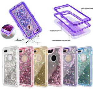 3 en 1 Glitter Liquid Quicksand Funda Bling Crystal Robot Defender Cubierta para iphone XS Max XR X 8 S9 S10 S10E Plus