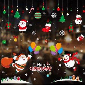 Décorations d'autocollants de Noël Centres commerciaux vitrines autocollants mise en scène Scénario PVC statique stickers muraux vitrines Sticker ornement