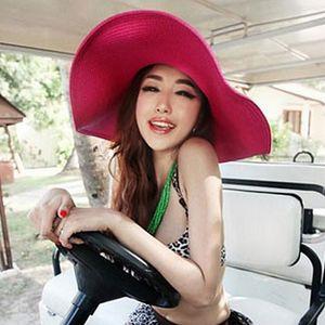 17 색 패션 접는 여성을위한 빈 태양 모자 모자 모자 여름 모자 짚 모자 여러 가지 빛깔의 해변 모자