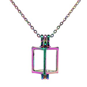 C246 Rainbow Color lovely Mini Hollow Square Beads Cage Pendant Essential Oil Diffuser Aromatherapy Pearl Cage Locket Pendant Necklace