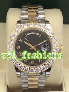 Prong 세트 다이아몬드 시계 호화로운 남자의 시계 자동 기계 Bi-gold 스테인리스 손목 시계 남자의 스포츠 방수 손목 시계