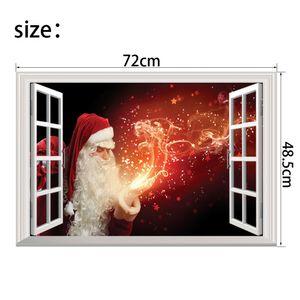 """DHL 3D Noel Duvar Sticker Sahte Pencere Duvar Çıkartmaları Çıkarılabilir Kendinden yapışkanlı PVC Duvar Çıkartması Noel Ev Dekorasyon 24 """"x 32"""