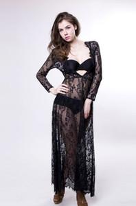 Hamile Dantel Elbise Kadınlar Ön Bölünmüş Uzun Maxi Annelik SiyahBeyaz Dantel Elbise Kıyafeti Fotoğraf Prop Elbise See Through