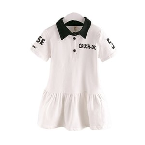 Girls Dress 2017 Summer New Fashion Comfortable Letters Casual Wild Sports Lapel Button Dresses for Girls Kids Clothes