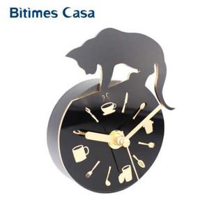 Bitimes Modern Clock Refrigerator Fridge Magnet Leopard Design Kitchen Utensils Divider Vintage Portable Wall Clock Mini Clock