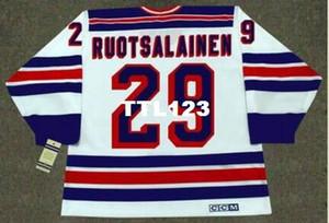 Mens #29 REIJO RUOTSALAINEN Нью-Йорк Рейнджерс 1984 CCM старинные ретро Главная хоккей Джерси или пользовательские любое имя или номер ретро Джерси