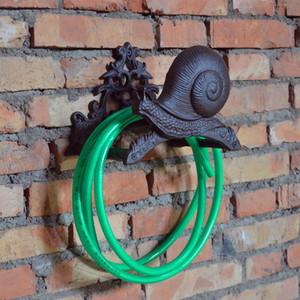 Cast Iron Snail Hose Holder Pipe Reel Rope Holder Stand Vintage Garden Hose Hanger Yard Patio Lawn Wall Mount Hose Organizer Rack Vintage