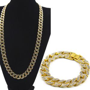 Moda Bracciale diamante simulato Uomo Bangles Necklace placcato oro ghiacciato fuori Miami cubana Bracciale Hip Hop