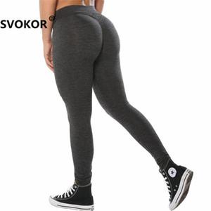 Push Up Sport Fitness Leggings altos SVOKOR para mujeres Workout Legging negro cintura Girl Polyester Jeggings Womens Clothing