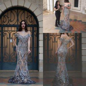 Luxo Dubai Vestidos Desgaste Da Noite 2019 Sereia Fora do Ombro Ilusão De Volta Major Beading Trem Da Varredura Formal Longo Prom Dress Evening Vestidos