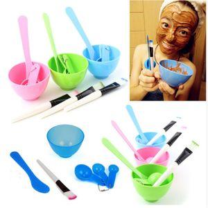 Nuevo 4 en 1 Maquillaje hecho en casa Belleza DIY Facial Mascarilla Tazón Cepillo Cuchara de medir Conjunto de herramientas Cuidado de la piel Maquillaje Herramientas Kit Accesorios