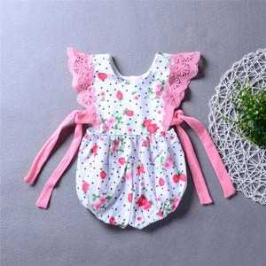 Neonata ragazza fragola pagliaccetto del fiore tuta con nastri bambino abbigliamento ragazze adorabile floreale puntino rosa tuta tuta 3-18 M
