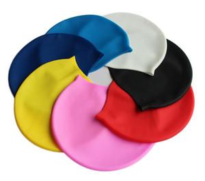 Tampões de natação duráveis adultos impermeáveis unisex dos chapéus da natação do silicone flexíveis para o transporte da gota do logotipo da cópia das mulheres