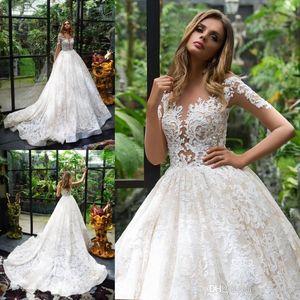 Vestidos de boda de encaje completo país modesto con mangas largas Jewel Sheer cuello ilusión corpiño vestido de novia vestido de barrido