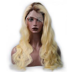 1b 613 parrucche di capelli umani onda del corpo biondo due toni nero alla bionda parrucca piena del merletto # 613 capelli umani parrucche glueless trasporto veloce