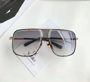Hombres Plaza 2087 Gafas de sol Oro Negro Marco Gris Grabado Lente Sonnenbrille Moda Gafas de sol Gafas de Sol Nuevo con caja