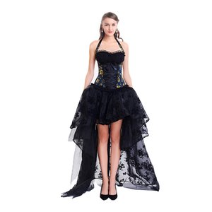 Sexy Corset Bustier Gothic with Dress 2 Pieces Sets Women Steampunk Gothic Corselet Halter Lace Ruffles Floral Party Maxi Dress Ball Gown