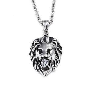 Мужчины 316L титана стали Лев глава кулон инкрустированные Алмаз прохладный хип-хоп золото серебро животных Лев ожерелье кулон для мужчин ювелирные изделия 60 см