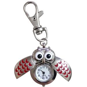 Fashion Protable Cute Keychain Gorgeous Cartoon Owls Uhr Clip Taschenuhr Herrenuhr Unisex Damenuhren