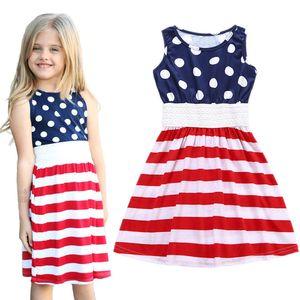 Bebek kızlar Amerikan bayrağı baskı elbise çocuk Kolsuz Çizgili Prenses Elbise 2018 yaz Butik çocuk çocuk Giyim C4065