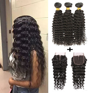 Brazilian Virgin Human Hair Bundles With Lace Closure Body Wave Malaysian Straight Hair Extensions 3 Bundles With 4x4 Lace Closure