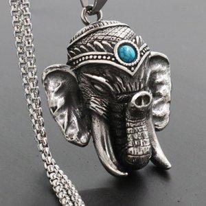 Classique Retro Hot Argent Elephant Bouddha Superbe Biker hommes Pendentif Collier chaîne Inde en acier inoxydable Hommes Colliers Pierre