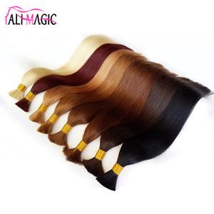 "AliMagic 100 g / grup İnsan Örgü Saç Toplu Remy Uzun Düz Siyah İnsan Örgü Saç 100% Doğal Ham Saç Ücretsiz Nakliye 18 ""20"" 22 """